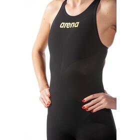 arena Powerskin Carbon Air2 Full Body Short Leg Open Back Swimsuit Women, black/black/gold